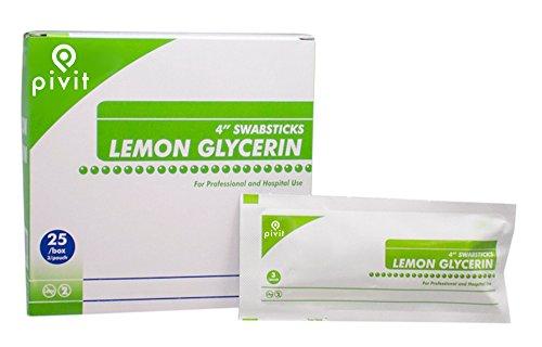 Lemon Glycerin Swabsticks 3 Packet - Pivit Lemon Glycerin Mouth Moistener Swabsticks, 4