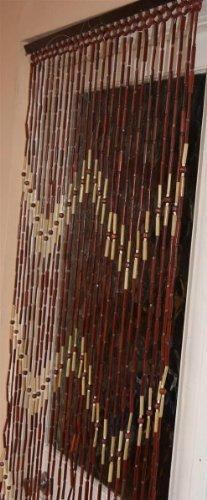 WOODEN - BAMBOO BROWN CREAM BEADED DOOR CURTAIN - FLY SCR...