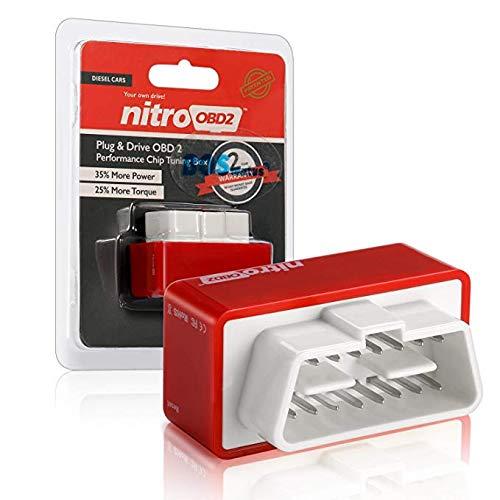Nitro Plug OBD2, OBD2Diesel Chip Tuning Box, les 35% plus BHP et 25% plus de couple pour votre voiture de Diesel et Trucker, Plug & lecteur OBD II des performances d'Puce adaptateur (Rouge)