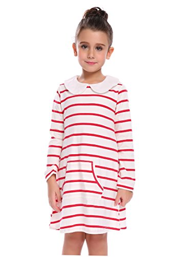 Arshiner Girls Cute Lovely White Black Striped Pocket Doll Collar Long Sleeve Cotton Daily Dress, 110(Age for 4-5Years), D-red