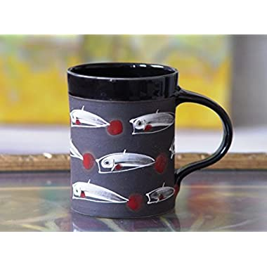 Large Stoneware Mug with Hand Painted Fish, Pottery Coffee Mug, Ceramic Tea Mug, Handmade Mug
