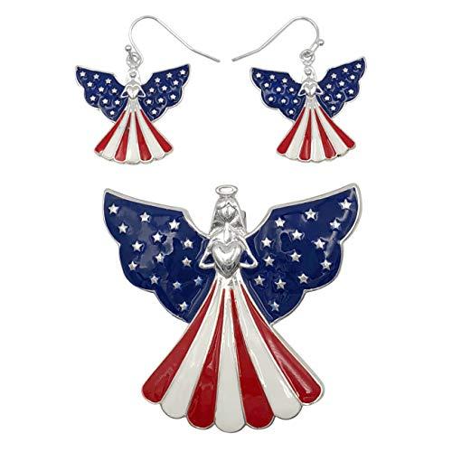 (Gypsy Jewels American Flag Silver Tone Pendant & Dangle Earrings Set (Angel with Heart))