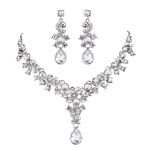 EVER FAITH Rhinestone Crystal Wedding Floral Teardrop Necklace Earrings Set Clear Silver-Tone (Necklace Crystal Floral Earrings)
