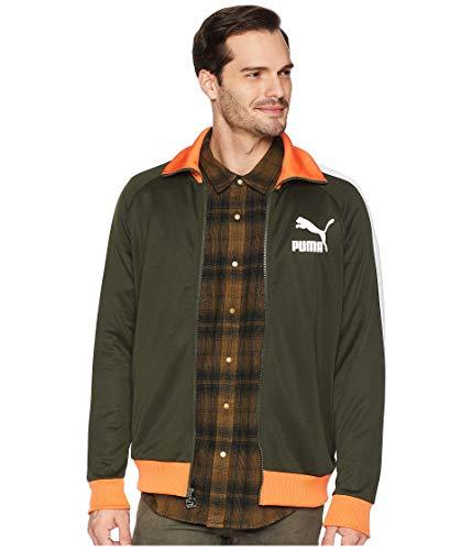 Mens Vintage Track Jacket - PUMA Men's T7 Vintage Track Jacket Forest Night/Puma White/Firecracker Medium