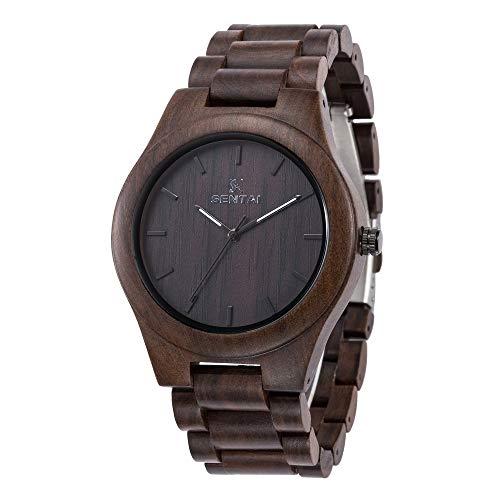 Men's Wooden Watch, Sentai Handmade Vintage Quartz Watches, Natural Wooden Wrist Watch (Black Sandalwood)