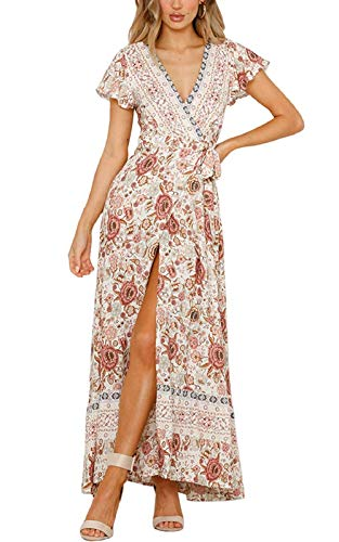 Womens Bohemian Dresses Loose Summer Cotton Semi Formal Shift Tunics Dress Casual Trapeze Beach Wear Printed Tunic Dresses for Women Beige Size XL