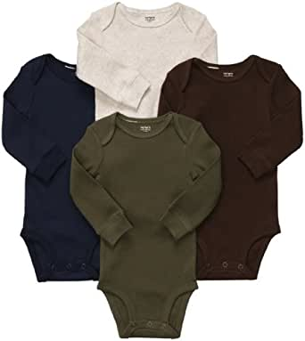 Carter's 4-Pack Long Sleeve Bodysuits - Solid - 3M