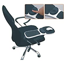 SSJ Home Office Computer Arm Rest Chair [Black White] Solid Armrest Cushion Mouse Pad Mat Wrist Support