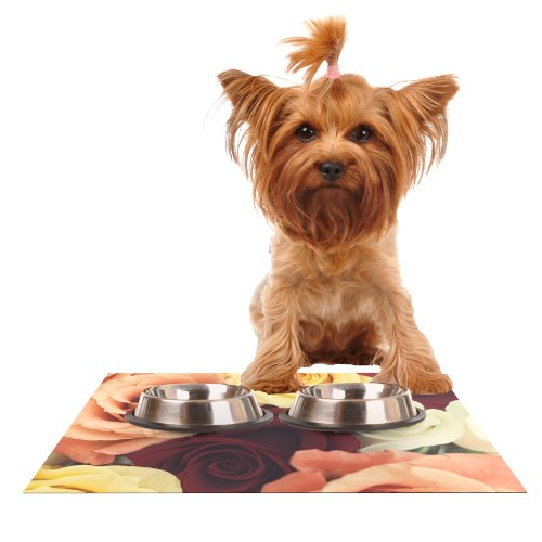 KESS InHouse Libertad Leal Vintage pinks  Feeding Mat for Pet Bowl, 18 by 13-Inch