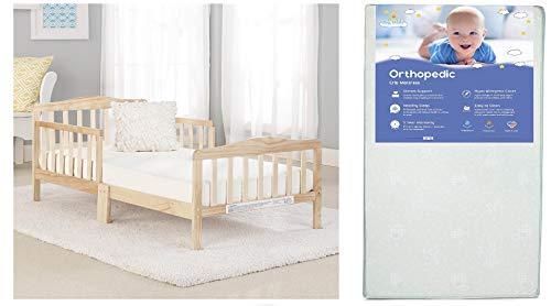 - Big Oshi Contemporary Toddler Bed & Mattress Bundle, Waterproof, Non-Toxic Mattress, Natural Color Bed