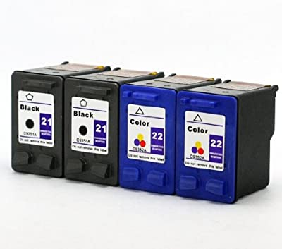 Axiom 4-Pack Remanufactured HP 21 22 Ink Cartridge for HP Fax 1250 3180 PSC 1401 1410