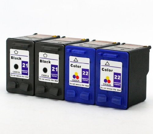 Axiom 4-Pack Remanufactured HP 21 22 Ink Cartridge for HP Fax 1250 3180 PSC 1401 (3180 Fax)
