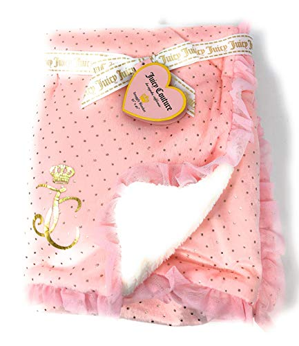 Pink Fringed with Gold Polka Dot Girls Juicy Couture Snuggly Baby Blanket with Sherpa Backing | 30 X 40 in