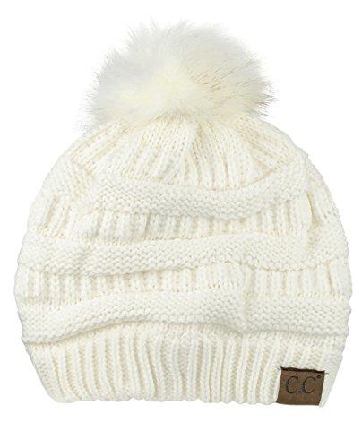 NYFASHION101 Exclusive Soft Stretch Cable Knit Faux Fur Pom Pom Beanie Hat - Ivory Pom