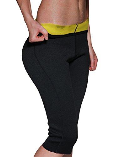 IFLOVE Sauna Sweat Pants for Women Weight Loss Workout Leggings Easy Slim Hot Yoga Capri Thigh Belly Fat Burner Waist Trainer Black L