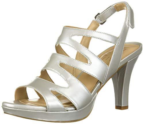 Naturalizer Women's Pressley Heeled Sandal, Soft Silver, 8 M US (Heel Platform Gladiator)