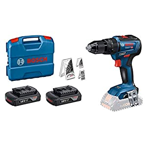 Bosch Professional 18V System cordless Combi Drill GSB 18V-55 (max. Torque 55 Nm, Including 2×1,5 Ah Battery, charger…