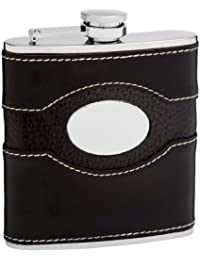 Purchase 6oz Black Genuine Leather Hip Flask, Free Personalization opportunity