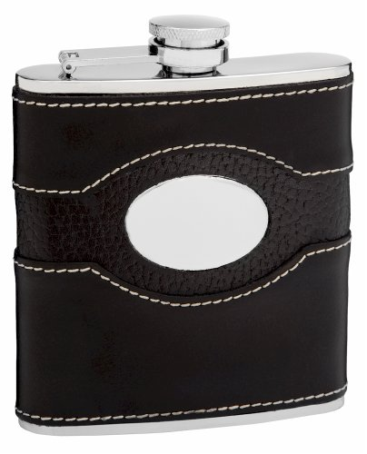 (6oz Black Genuine Leather Hip Flask, Free Personalization)
