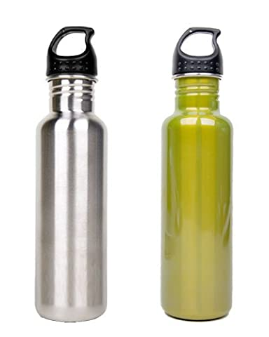 Stainless Steel Water Bottle Canteen 25oz. - Combo 2 Pack - Stainless Steel & Green (Canteen Combo)