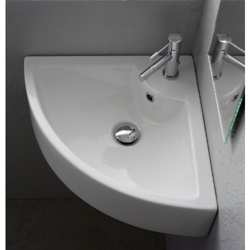 Square Wall Mounted Corner (Scarabeo 8007/E Square White Ceramic Wall Mounted or Vessel Corner Sink)