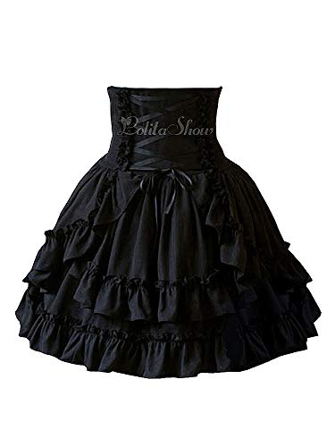 Antaina-Black-High-Waisted-Gothic-Layered-Ruffled-Cotton-Lolita-Short-SkirtsS