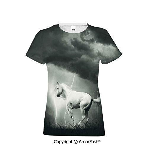 (Distinctive Women's Premium Polyester T-Shirt,Horses,Horse Running Under Thunder)