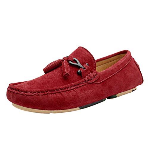 Plano Rojo Zapatos Hombre Loafer Mocasines Jitong Calzado de Suave Piel de Zapatillas Sintética OnxUd87