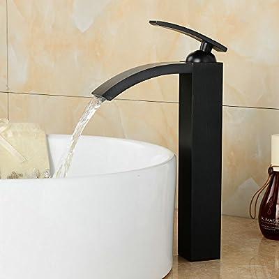 Beelee Deck Mounted Single Handle Centerset Bathroom Vessel Sink Faucet , Black Color
