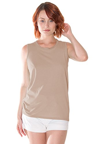 (Organic Cotton Muscle Tank, Non-GMO, Eco Friendly, Made in The USA (Large, Taupe))