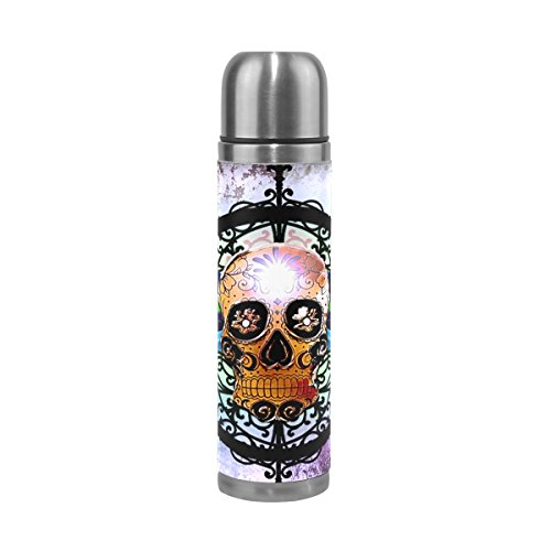 Hulahula Skull Water Bottle Stainless Steel Insulated Vacuum Flask Leak Proof Leather Packing Thermos(500ML 13.7OZ)