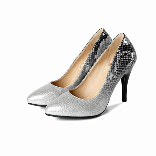 MissSaSa Damen glitzer Stiletto Pointed toe Lack-Pumps Silber