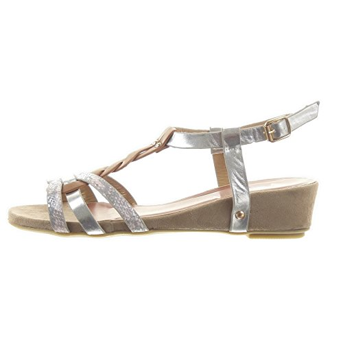 Mode Damen T zaum Schuhe spange Römersandalen Rosa Sandalen Plateauschuhe Sopily Glänzende Schlangenhaut Multi 4U6ZqT