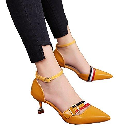 Chaussures jaune les a l'Amérique profonde la taille 35 bouche hauts creuses Europe L'été de pointé bien boucle rétro peu 5cm couleur Yellow6 talons Couleur de de 5cm 5cm 6 ceinture de et Yellow6 r5r8R0qZ