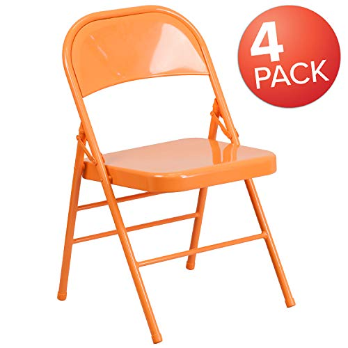 Flash Furniture 4 Pk. HERCULES COLORBURST Series Orange Marmalade Triple Braced & Double Hinged Metal Folding Chair ()