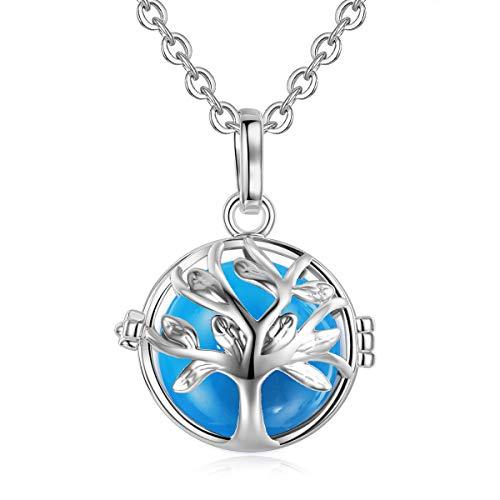 EUDORA Harmony Bola Tree of Life 18mm Pendant Necklace Jewelry Set 30'' Blue Chime Ball
