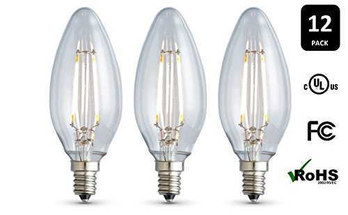 12-Pack ARCHIPELAGO Dimmable LED Filament Candelabra (B10) Light Bulb, Clear Glass, 3.5 Watt, Candelabra Base (E12), 2400K (Soft White), Omnidirectional, UL Listed
