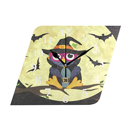 (ZHOUSUN Halloween Owl in Witch Costume Non Ticking Silent Wall Clock Decorative, Battery Operated Analog Quiet Wall Clock, for Living Room, Kitchen,)