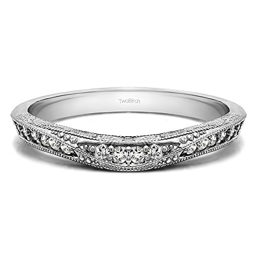 TwoBirch 0.18Ct Vintage Filigree Wedding Band In Silver Diamonds (G-H,I1-I2)(Size 3 to 15 in 1/4 Sizes)