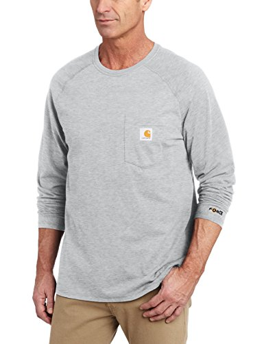 Cotton Long Sleeve T-Shirt,Heather Gray,X-Large (Carhartt Workwear Pocket Tees)