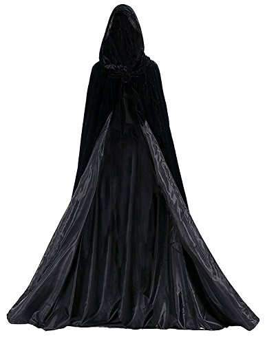 Aorme Halloween Hooded Cloaks Medieval Costumes Cosplay Wedding Capes Robe (4X-Large, Black)