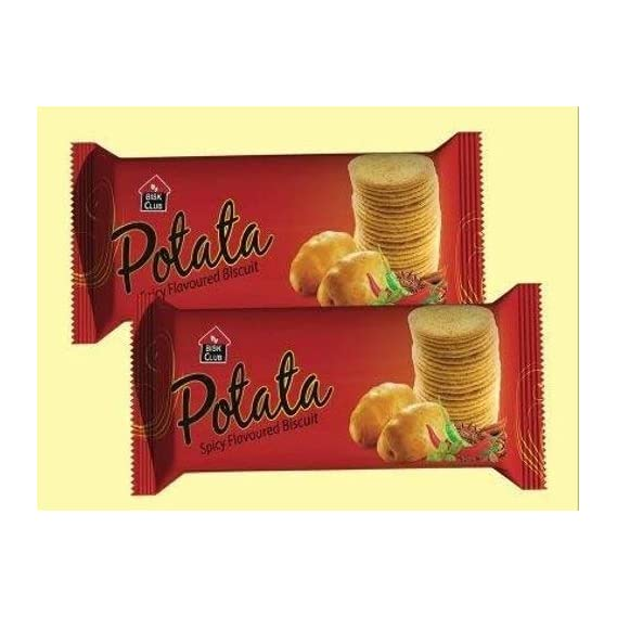 PRAN POTATA Spicy Flavoured Biscuits 8 Packs of 100 Grams Each