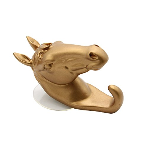 (bouti1583 Multifunctional Animal Pony Horse Suction Hook Coats Hook Suction Cup Hook Rack Home Wall Decor Gold)