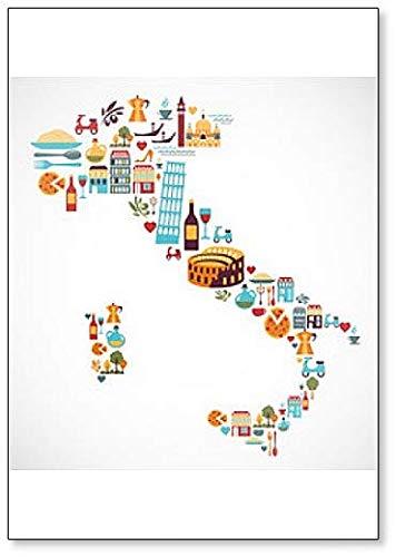 Imán para nevera con diseño de mapa de Italia con iconos italianos ...