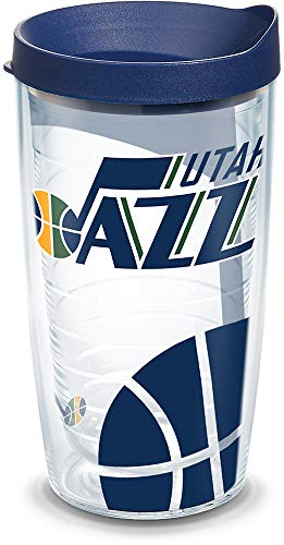 (Tervis 1297028 NBA Utah Jazz Insulated Tumbler with Wrap and Navy Lid, 16oz, Clear)