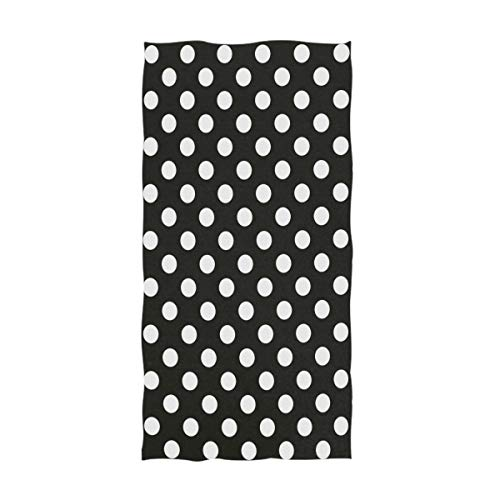 (Naanle Cute Polka Dot Pattern Soft Absorbent Guest Hand Towels for Bathroom, Hotel, Gym and Spa (16 x 30 Inches,Black White))