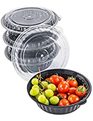 CTC Circle 24oz 100 Pack Salad Bowl With Lid, Disposable Cereal Meal Prep Container, Reusable Food Storage Container, Snack Bowl, Rice Bowl, Lunch Box | BPA Free | Microwave, Dishwasher, Freezer Safe