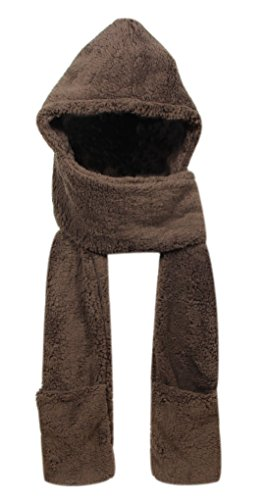 Super Soft Fleece Women's Hooded Scarf & Hat W/ Glove Pockets By Bioterti (Coffee)
