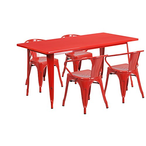 Flash Furniture 31.5'' x 63'' Rectangular Red Metal Indoor-Outdoor Table Set with 4 Arm Chairs