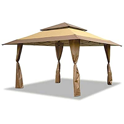 Z-Shade 13 x 13 Foot Instant Gazebo Canopy Tent Outdoor Patio Shelter, Tan Brown - MM29431: Sports & Outdoors